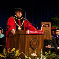 Indiana University President Michael A. McRobbie speaks at dedication ceremony