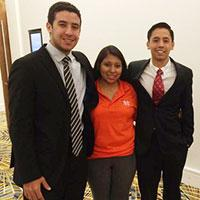 IUPUI student Ricardo Ortiz, left, teamed up with Ana Artiaga, center, and Nelson Grajales to win the top prize in the Society of Hispanic Professional Engineers national conference this fall. | PHOTO COURTESY OF RICARDO ORTIZ
