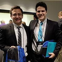 IUPUI Tau Beta Pi Chapter Vice President, Jeremy Mihajlovich (left) and President, Leandro Moretti (right)