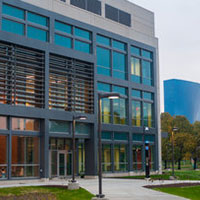 The Science and Engineering Laboratory Building, home of the CyberLab. | IU Communications