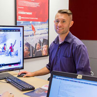 Nate Mugg at the IUPUI Multimedia Production Center. Photo by Liz Kaye, IU Communications