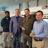 Recipients of Praxair Surface Technologies (PST) TruForm AMbition Grant tour PST's TruForm Center for AM Advancement. Pictured left to right: Vaishak Viswanathan, PST R&D Professional, Peter Schubert, Ph.D., P.E. IUPUI Interim Associate Dean for Research and Professor, Bill Jarosinski, PST R&D Director of Materials, and Jing Zhang, IUPUI Associate Professor. (Photo credit: Lindsey Frech)