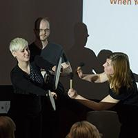 Kate Myers-Coffman (left), music therapy graduate student in Music and Arts Technology in the School of Engineering and Technology, IUPUI